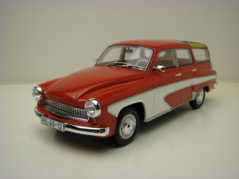 Wartburg 311 Camping Deluxe 1967 Red White 1:18 BoS-Models